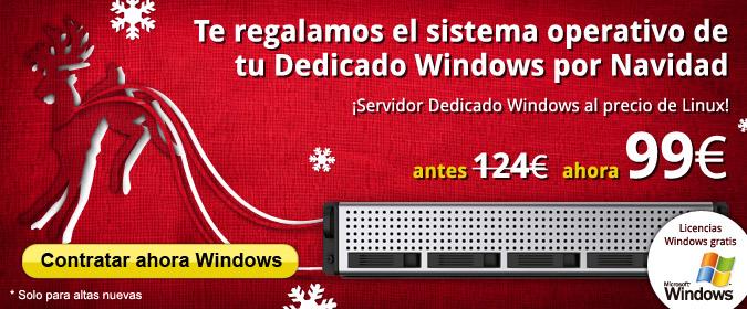 Te regalamos el sistema operativo de tu Dedicado Windows por Navidad. ¡Servidor Dedicado Windows al precio de Linux!