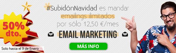Imagen de #SubidónNavidad es mandar emailings ilimitados por sólo 12,50 €/mes