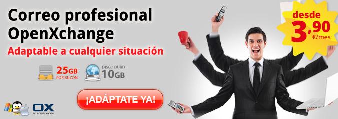 Correo profesional OpenXchange. Adaptable a cualquier situación. Desde 3,90€/mes