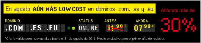 En agosto aún más low cost en dominios .com, .es y .eu. Ahórrate más del 30%
