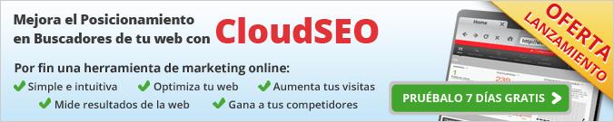 Mejora el posicionamiento en buscadores de tu web con CloudSEO. Oferta de lanzamiento, pruébalo 7 días gratis