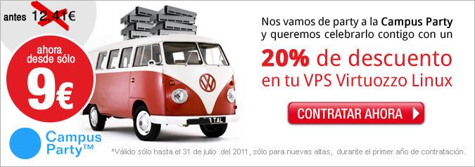 Nos vamos de party a la Campus Party y queremos celebrarlo contigo con un 20% de descuento en tu VPS Virtuozzo Linux. Ahora desde sólo 9€